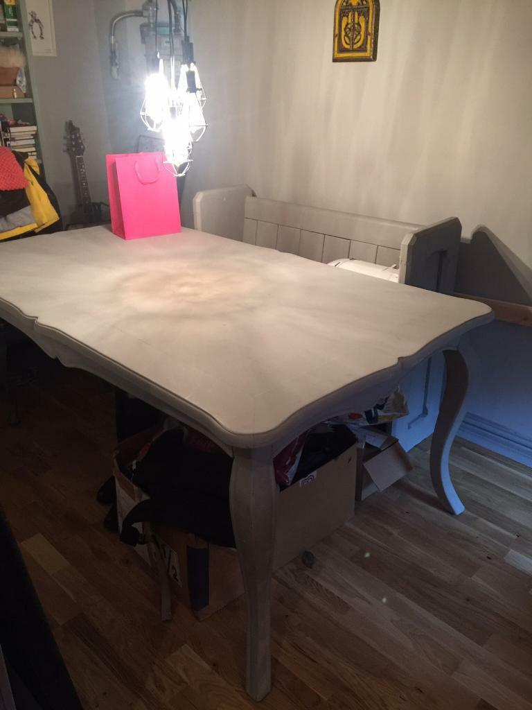 Large French style grey Dining tablein Rhondda Cynon TafGumtree - Gorgeous large French dining table seats 6 8 Beautiful shape and very heavy made from solid wood. Painted in a light grey and sealed in clear wax for protection it would fit in with any colour scheme. Easy to assemble Legs are Removable however you...