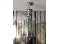 Chrome Lantern Style ceiling light fitting.