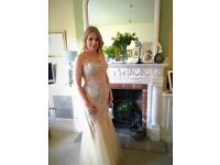 Beautiful Nude gold sparkly prom dress from Ball Gown heaven size 12 mint condition