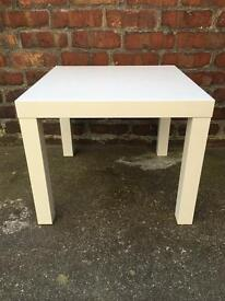 Small white gloss square table