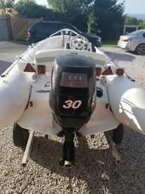 Zodiac rib with 30 mercury engine in lovely condition with sniper trailer