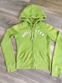 Genuine Ladies Hollister Lime Green Hooded Zip Up Top (Size XS / UK 6 - 8)