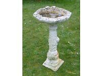 Elegant Rose & Flower Detailed Bird Bath Garden Feature Ornament