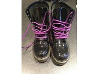 Dr Martens Black Patent Leather Boots Size 6 (worn once)
