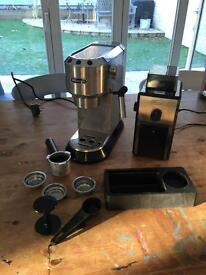 DELONGHI EC680M CHROME ESPRESSO MACHINE COFFEE & BURR GRINDER DEDICA