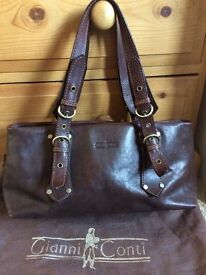 Brown Leather Handbag Gianni Conti