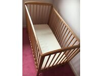 Pine Cot with mattress fab cond
