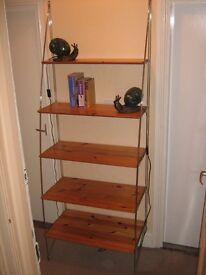 Wood and chrome shelves