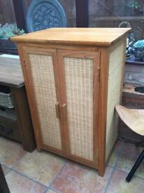 Pair of Solid Wood and Rattan cabinets/cupboards, £30 each or pair for £55