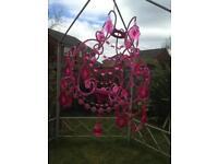 Girl's pink chandelier light holder
