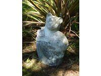 Vintage Cast Stone Cat on Tree Stump Garden Ornament Statue 26cm Tall