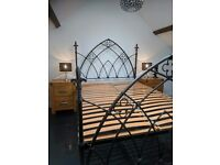 Stunning gothic grey heavy cast iron king size bed frame - not a replica collection Plymouth