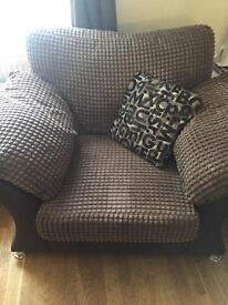 DFS cuddle sofa and large chair