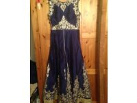 Anarkali - one piece regal blue, excellent quality silk and stretchy pajami - worn once