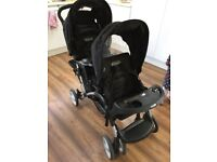 Graco stadium duo pushchair oxford double buggy pram with raincover footmuff excellent condition