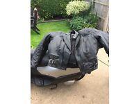 vintage black leather bike jacket