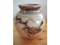 Vintage studio art pottery vase. Hand painted sparrow on branch, signed Arnaldo. Italy. £8 ovno.