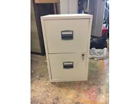Metal 2 draw filing cabinet second white with keys