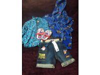 Baby toddler boy bundle age 3 - 4 dressing gown jumper paw patrol flip flops size 6 toddler