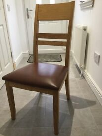 Six brown leather/oak dining chairs - excellent condition