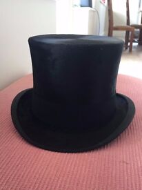 Antique Black Silk Top Hat. 7 1/4. Immaculate. Perfect for Ascot or weddings.