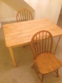 Rubber wood table and 2 chairs