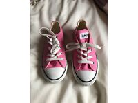 Girls size 1 converse pink shoes worn once only