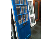 Exterior door with frosted glass squares