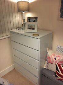 Hygena white gloss drawers