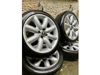"""Mini cooper s alloy wheels and tyres - 4x100 one jcw 17"""" mini alloys corsa clubman van 4 stuf bmw vw"""