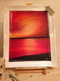 """Flaming Sky"" original oil on canvas"