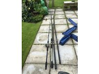 Job lot sea fishing gear rods, reels, ripper, spinners, hooks, floats, weights, box seat ,tackle box