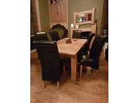 M&S Sonoma Dining Table & 6 Black Leather Chairs