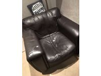 Brown Leather Corner Settee and matching Arm Chair