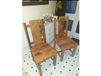 Beautiful rustic chunky plank solid wood chairs