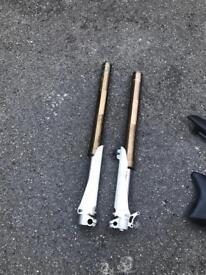 Pit bike forks panels wheels tyres job lot
