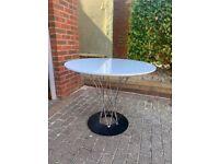 Designer Circular (90cm dia.) Gloss White Table on Chrome and Black Base