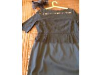 Wedding guest dress Size 16 Phase Eight Steel Blue with matching Fascinator worn only once