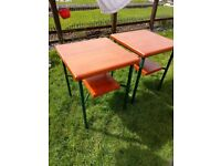 Steel tables with solid pine top can be used indoor or out