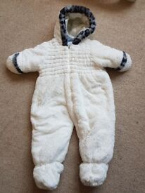 Baby fluffy snowsuit 6 to 9 months