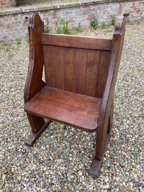 Original Single Seat Antique Church Pew