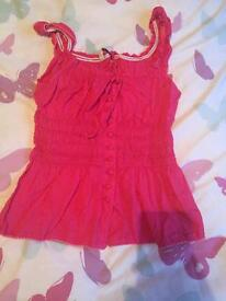 Pink skirt sleeved shirt new look size 8