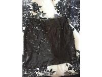 Missguided Black Sequin Skirt Size 12