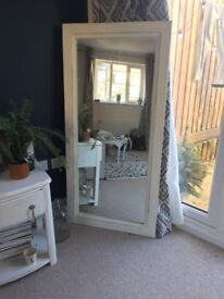 Large shabby chic white wooden mirror