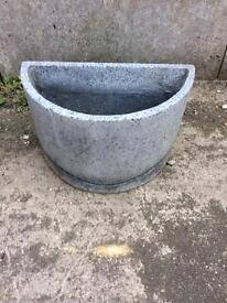 2 unusual grey stone plant pots