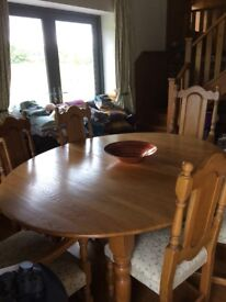 Oak dining table and 6 chairs REDUCED to £50