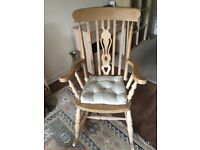 Farmhouse oak rocking chair with antique wax finish