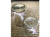 Wedding sweet jars with ribbon