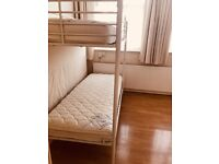 WHITE BUNK BED WITH TWO SINGLE MATTRESS