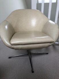 Retro 70s cream vinyl swivel cocktail chair